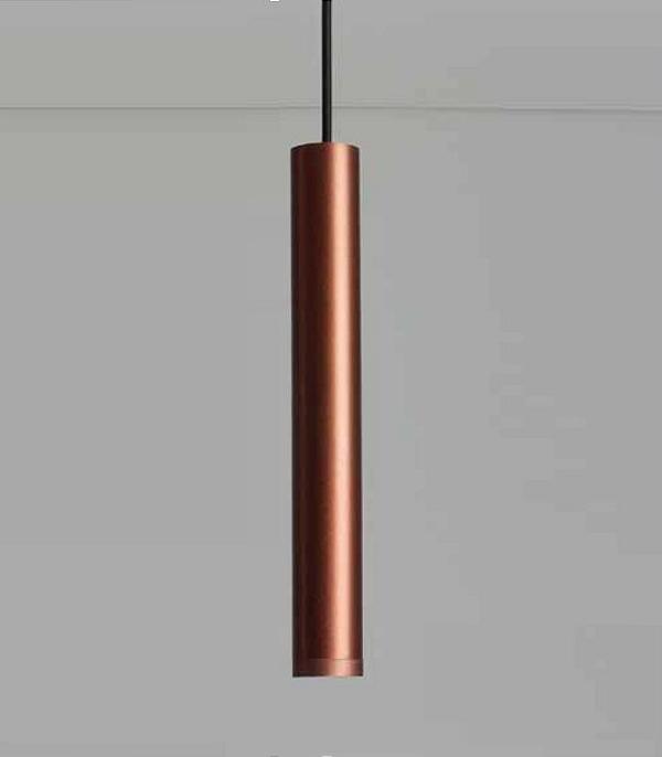 Pendente Newline Iluminação Lisse Tubo Pendurado Metal Cobre 31,5x4cm 1x GU10/ GZ10 Mini LED 420COCO Sala de Jantar Quarto e Cozinha