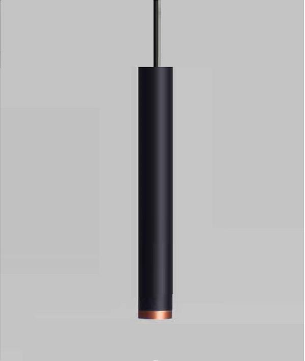 Pendente Newline Iluminação Lisse Tubo Pendurado Metal Preto 31,5x4cm 1x GU10/ GZ10 Mini LED 420PTCO Sala de Jantar Quarto e Cozinha