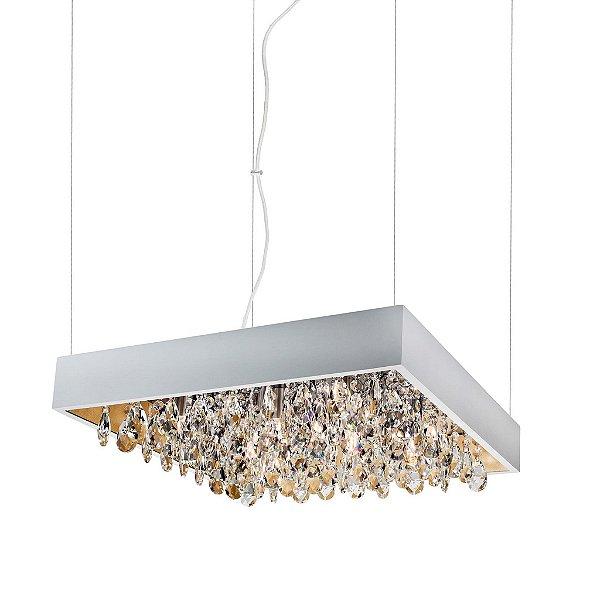 Pendente Newline Iluminação Lusso Cristais Quadrado Metal 11x47cm 8x G9 Halopin Bivolt 110v 220v 371TRBTDO Sala de Jantar Quarto e Cozinha
