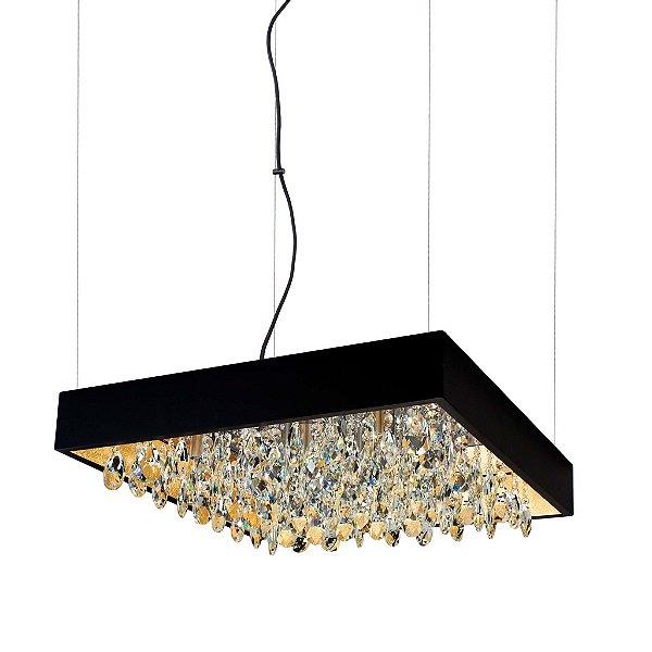 Pendente Newline Iluminação Lusso Cristais Quadrado Metal 11x47cm 8x G9 Halopin Bivolt 110v 220v 391TRPTDO Sala de Jantar Quarto e Cozinha