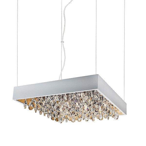 Pendente Newline Iluminação Lusso Cristais Quadrado Metal 11x60cm 9x G9 Halopin Bivolt 110v 220v 372TRBTDO Sala de Jantar Quarto e Cozinha