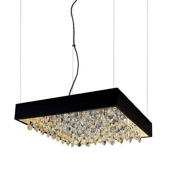 Pendente Newline Iluminação Lusso Cristais Quadrado Metal 11x60cm 9x G9 Halopin Bivolt 110v 220v 392TRPTDO Sala de Jantar Quarto e Cozinha