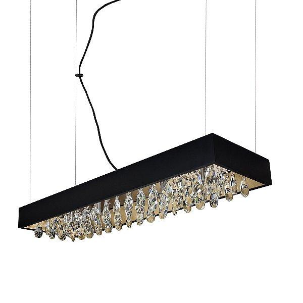 Pendente Newline Iluminação Lusso Cristais Quadrado Metal Preto 11x80cm 5x G9 Halopin Bivolt 110v 220v 375TRPTDO Sala de Jantar Quarto e Cozinha