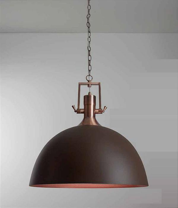 Pendente Newline Iluminação Naval 1/2 Esfera Redondo Metal Ø55cm 1x E27 25W Bivolt 110v 220v 551MCCO Sala de Jantar Quarto e Cozinha