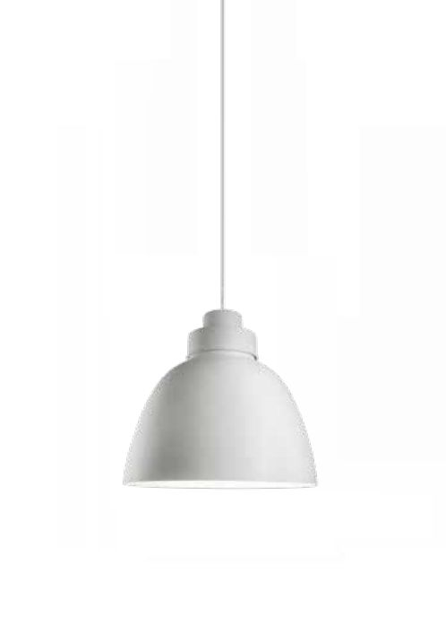 Pendente Newline Iluminação New Industrial Conico Oval Metal Branco 39x40cm Lâmpada E27 25W SNT366BT Sala de Jantar Quarto e Cozinha
