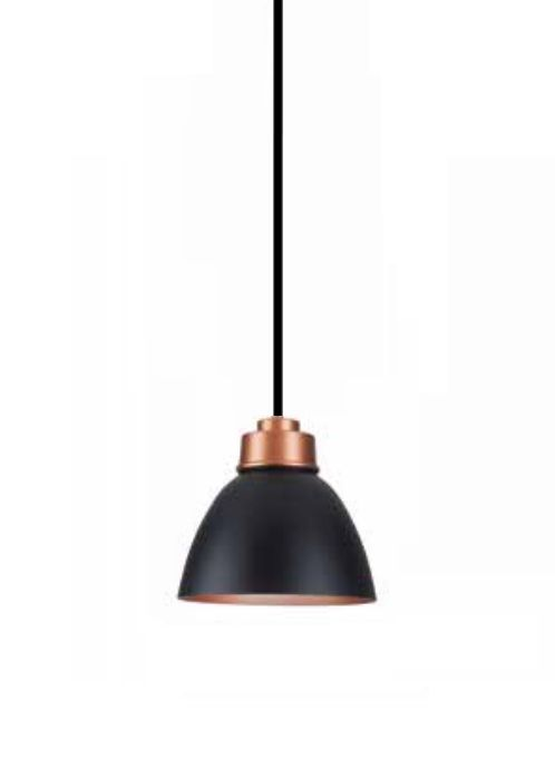 Pendente Newline Iluminação New Industrial Conico Oval Metal Preto 21x25cm Lâmpada E27 25W SNT367PTCO Sala de Jantar Quarto e Cozinha