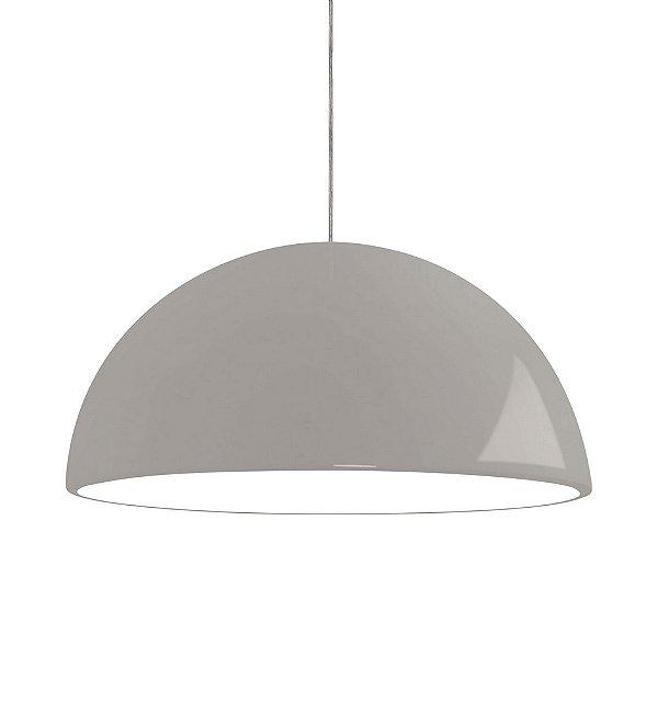 Pendente Newline Iluminação New Round 1/2 Esfera Metal Cinza 20,5x40cm 1x E27 25W Bivolt 110v 220v SNT345BT Sala de Jantar Quarto e Cozinha