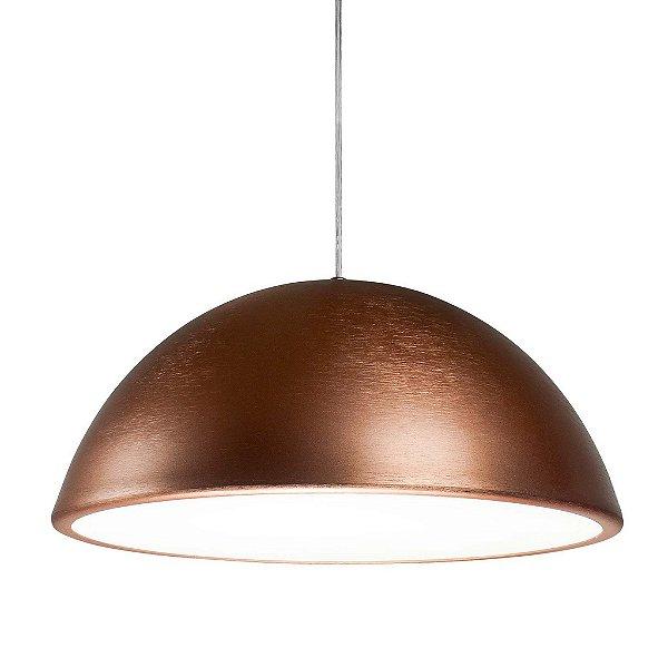 Pendente Newline Iluminação New Round 1/2 Esfera Metal Cobre 34x60cm 2x E27 25W Bivolt 110v 220v SNT346CE Sala de Jantar Quarto e Cozinha