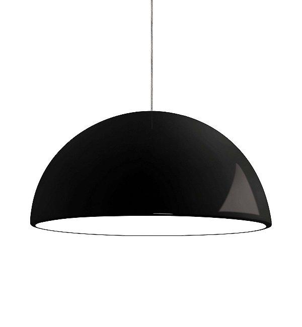 Pendente Newline Iluminação New Round 1/2 Esfera Metal Preto 20,5x40cm 1x E27 25W Bivolt 110v 220v SNT345PT Sala de Jantar Quarto e Cozinha