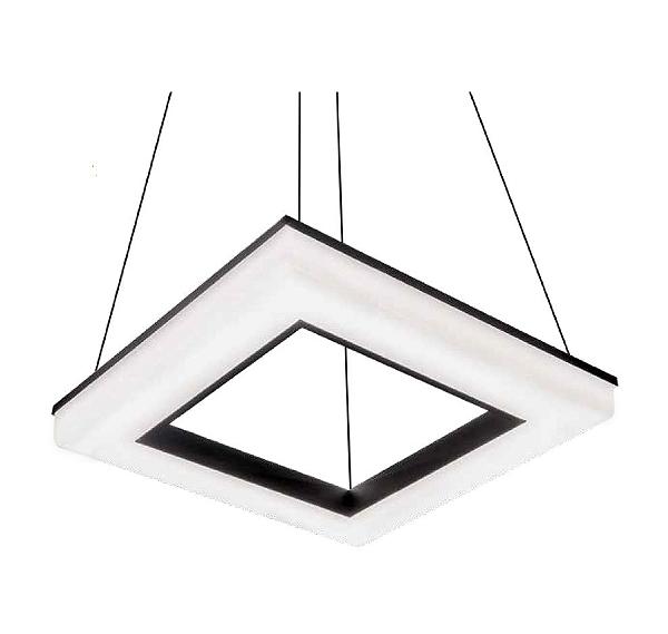 Pendente Newline Iluminação Pixel Aberto Quadrado Acrílico Metal 6,5x47cm PCI LED 40W 496LEDBT Sala de Jantar Quarto e Cozinha