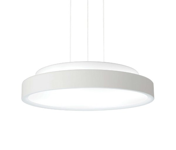 Pendente Newline Iluminação Ring Disco Redondo Metal Acrílico 10,5x60cm 6x E27 25W Bivolt 110v 220v 9086BT Sala de Jantar Quarto e Cozinha