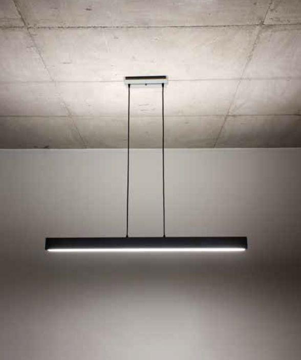 Pendente Newline Iluminação Sobrepor V Retangular Acrílico Metal 7x60cm PCI LED 25W Bivolt 110v 220v 466LEDPT Sala de Jantar Quarto e Cozinha