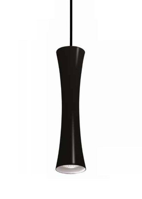 Pendente Newline Iluminação Sottile Tubo Curvo Pendurado Metal Preto 30x12cm Lâmpada PAR16 50W ST20011PB Sala de Jantar Quarto e Cozinha