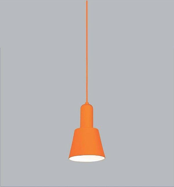 Pendente Usina Design Aquarela Vertical Conico Metal Laranja 20x12,5cm 1x E27 Bivolt 110v 220v16205-13 Sala Estar Quartos