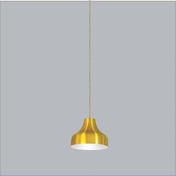 Pendente Usina Design Bali medio Conico Redondo Metal Amarelo 23,5x18,5cm 1x E27 Bivolt 110v 220v16075-25 Balcões Mesas