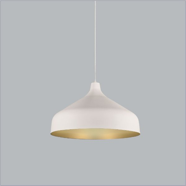 Pendente Usina Design Bali medio Conico Redondo Metal Branco 23,5x18,5cm 1x E27 Bivolt 110v 220v16075-45 Balcões Mesas