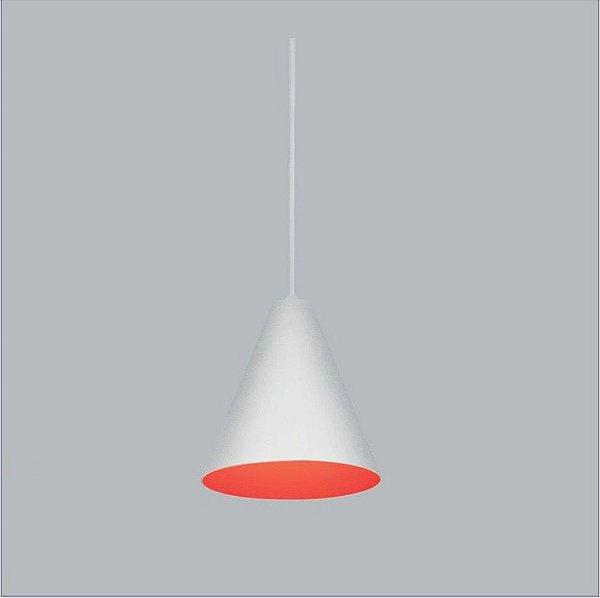 Pendente Usina Design Carpaccio PP Vertical Conico Metal Branco 17x16cm 1x E27 16010-16 Balcões Cozinhas
