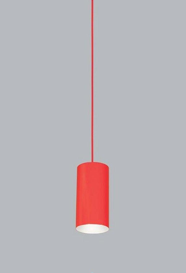 Pendente Usina Design Ducto PP Vertical Tubo Metal Vermelho 18x11cm 1x E27 Bivolt 110v 220v16256-20 Balcões Cozinhas