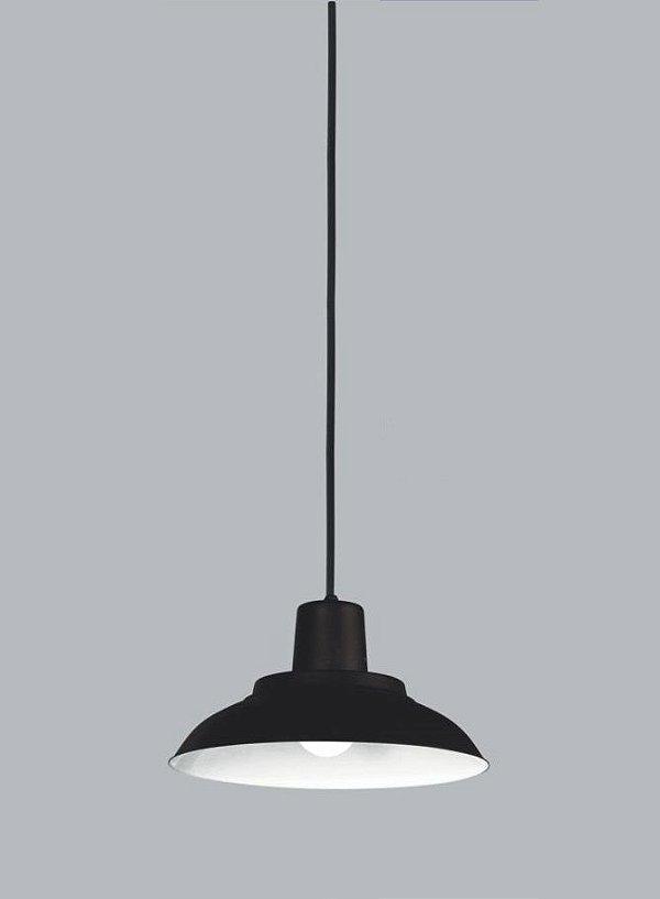 Pendente Usina Design Juquiá Vertical Pequeno  Redondo Metal Preto 14,5x28cm 1x E27 Bivolt 110v 220v16155-30 Balcões Mesas
