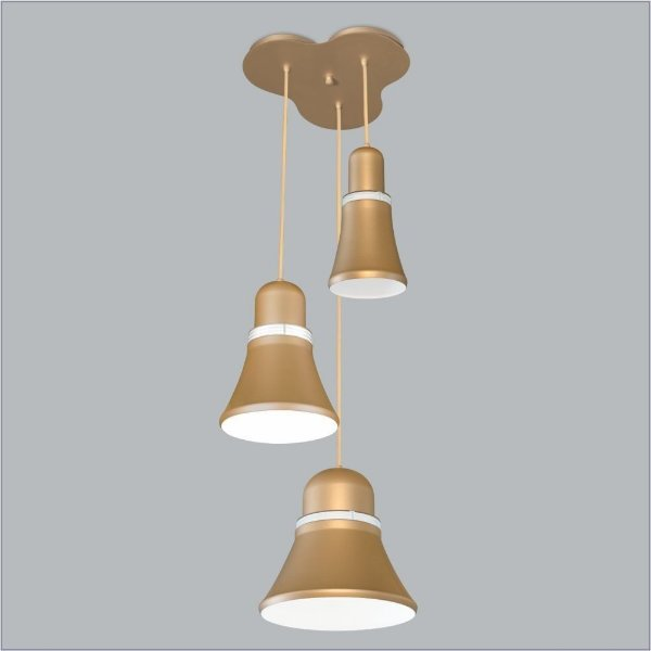 Pendente Usina Design Merengue Mix 3 Moderno Metal Dourado 27x60cm 1x E27 Bivolt 110v 220v16032-3 Mesas Balcões