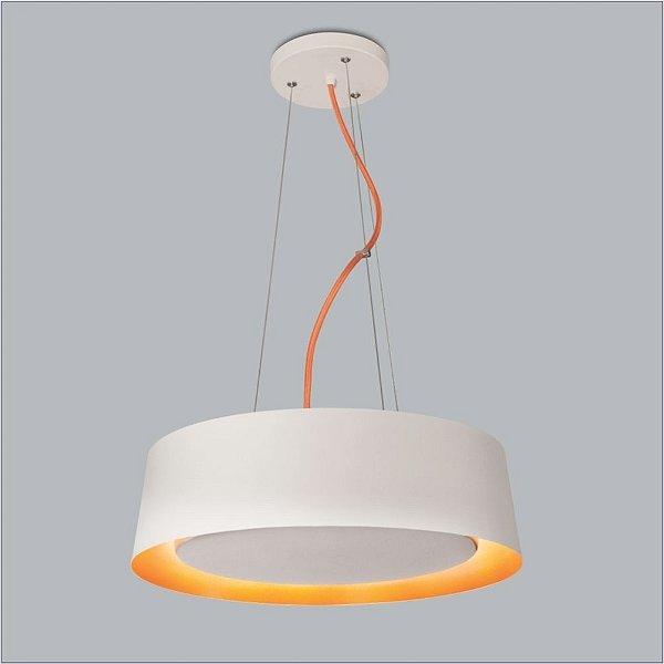Pendente Usina Design Osco Pequeno  Redondo Metal Branco 14x35cm 2x Lâmpadas E27 Bivolt 110v 220v16051-35 Quartos Mesas