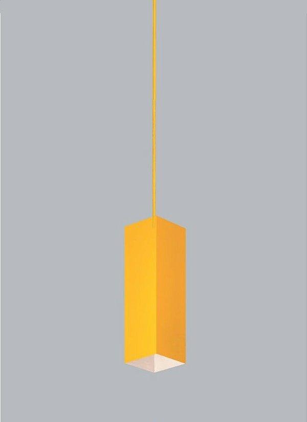 Pendente Usina Design Quadra P Cubo Tubo Metal Amarelo 28x11cm 1x E27 Bivolt 110v 220v16261-30 Sala Estar Balcões