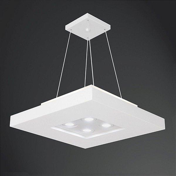 Pendente Usina Design Quadrado Branco Acrílico Decorativo 50x50 Bore E-27 + Dicróica 4601/50 Cozinhas Salas