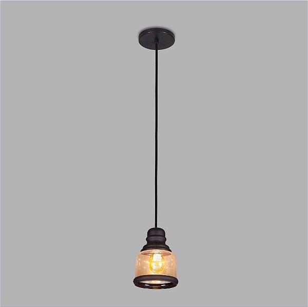 PENDENTE Usina Design VETRO 17007/1 Sala Quarto Cozinha 1 E27 Ø160x220x1000