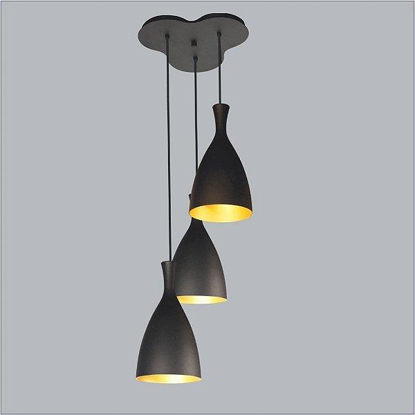 Pendente Usina Design Vita Mix 3 Conico Metal Preto 16,5x36,5cm 3x Lâmpadas E27 Bivolt 110v 220v16021-40 Hall Mesas