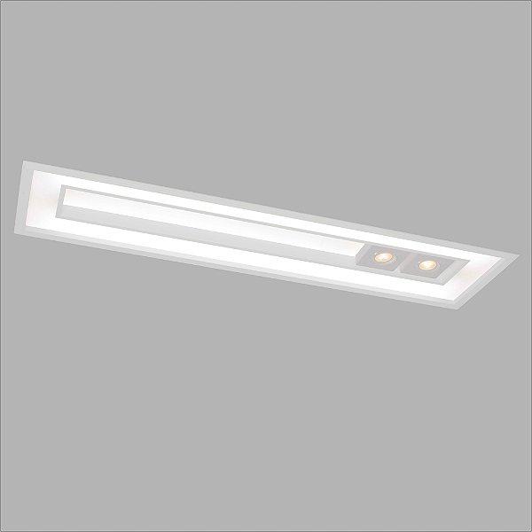 Plafon EMBUTIDO Usina Design FOCUS 305x632x100mm 4556/65 Sala Estar Cozinhas Quartos 4xT8 60CM 2GU10 MR16 325x650x100