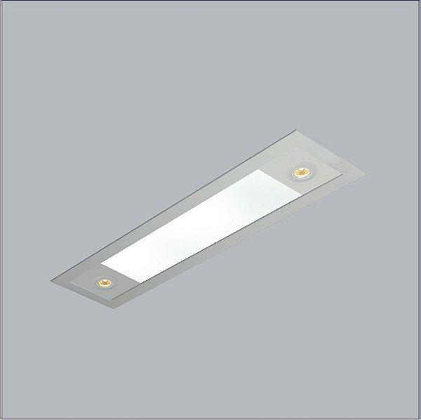 Plafon EMBUTIDO Usina Design RETANGULAR RULER /175X1470X100 3720/150F Teto Gesso Sancas 4 T8LED 120 cm/2 PAR20 200X1500X100