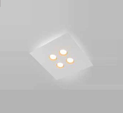 Plafon Newline Iluminação Domino LED Sobrepor Quadrado Alumínio Branco 4,8x45cm PCI LED 24W 2700K 521LEDBTDO Sala Quarto e Cozinha