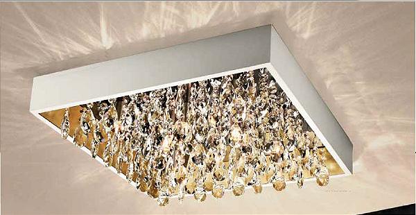 Plafon Newline Iluminação Lusso Sobrepor Cristais Metal Branco 11x35cm 4x G9 Halopin Bivolt 110v 220v 360BTDO Sala Quarto e Cozinha