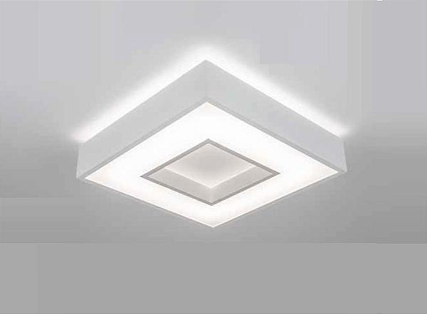 Plafon Newline Iluminação New Chess LED Sobrepor Acrílico Quadrado 8,3x47cm PCI LED 40W Bivolt 110v 220v 512LEDBT Sala Quarto e Cozinha