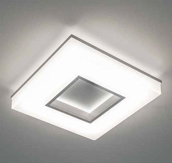 Plafon Newline Iluminação Pixel Quadrado Aberto Metal Acrílico Branco 7x26,5cm PCI LED 20W 490LEDBT Sala Quarto e Cozinha