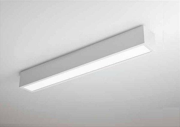 Plafon Newline Iluminação V Sobrepor Retangular Metal Acrílico 7,5x11,7cm PCI LED 30W Bivolt 110v 220v 460LED3BT Sala Quarto e Cozinha