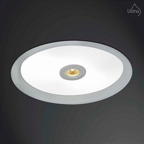 Plafon Usina Design Embutido  acrílico leitoso Redondo Bivolt 110v 220vØ55 Suprema E-27 Dicróica 3042/55 Cozinhas Salas
