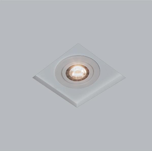 Plafon Usina Design Embutido Now Frame Quadrado  acrílico leitoso Cinza 13x13cm 1x AR70 Bivolt 110v 220v30202-11 Sala Estar Quartos