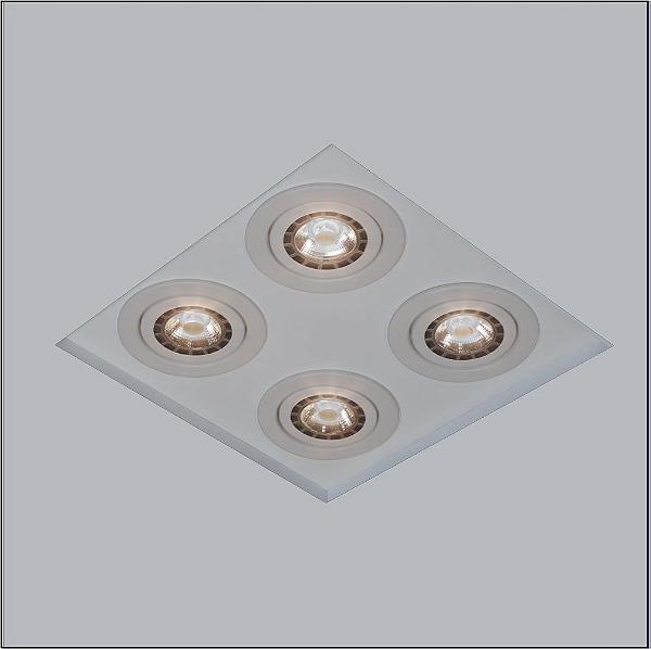 Plafon Usina Design Embutido Now Frame Quadrado  acrílico leitoso Cinza 27x27cm 4x AR70 Bivolt 110v 220v30202-26 Quartos Salas
