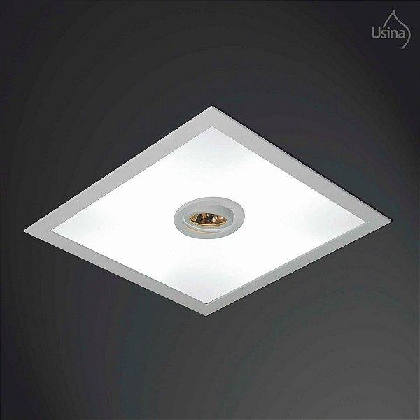Plafon Usina Design Embutido Quadrado  acrílico leitoso Bivolt 110v 220v50x50 Ruler E-27 Par 20 3701/50 Banheiros Lavabos Salas