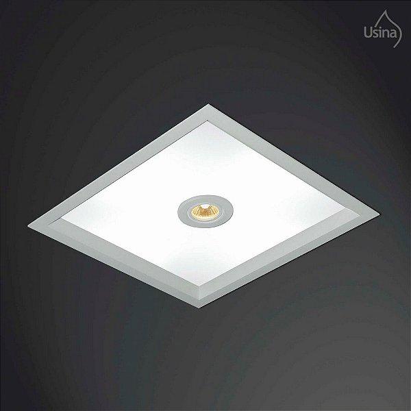 Plafon Usina Design Embutido Quadrado  acrílico leitoso Fosco Bivolt 110v 220v25x25 Suprema E-27 3002/25 Quartos Salas