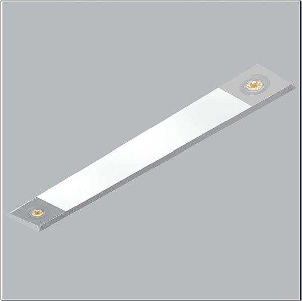 Plafon Usina Design Now Frame Embutido Retangular  acrílico leitoso 14x84cm 2 T8 Tubo/ 2 PAR20 30092-79 Sala Estar Entradas