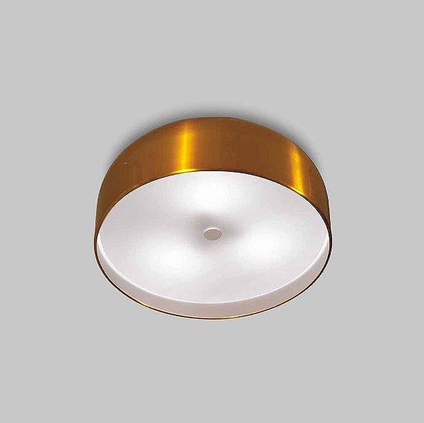 Plafon Usina Design Oberon Sobrepor Redondo Metal Dourado 10x50cm 6x E27 Bivolt 110v 220v16210-50 Hall Quartos