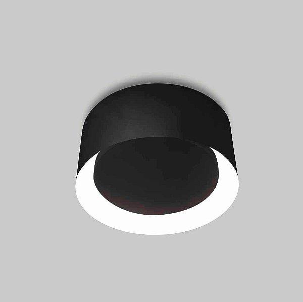 Plafon Usina Design Osco Pequeno  Sobrepor Redondo Metal Preto 14x35cm 2x E27 Bivolt 110v 220v16050-35 Escadas Quartos