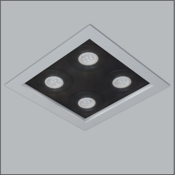 Plafon Usina Design Premium Embutido Quadrado  acrílico leitoso Preto 8x25cm 4x GU10 Dicróica Bivolt 110v 220v4300-25 Sala Estar Quartos