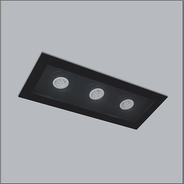 Plafon Usina Design Premium Embutido Retangular  acrílico leitoso 15x36cm 3x GU10 Dicróica Bivolt 110v 220v4315-36 Sala Estar Quartos