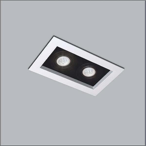 Plafon Usina Design Premium Embutido Retangular  acrílico leitoso Preto 17x32cm 2x PAR20 Bivolt 110v 220v4320-32 Sala Estar Quartos