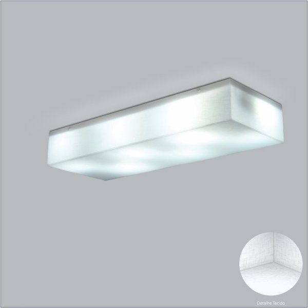 Plafon Usina Design Retangular  acrílico leitoso Leitoso Tecido Cristal Sobrepor 24x33 Polar 10424/33 Escadas Salas