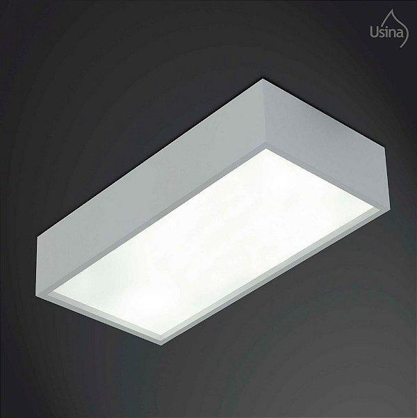 Plafon Usina Design Retangular Metal Fosco Usual 24x125 Tropical E-27 4024/125 Sala Estar Quartos