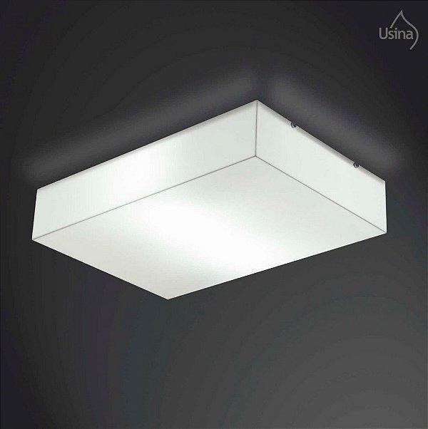 Plafon Usina Design Sobrepor  acrílico leitoso Leitoso Branco Retangular 17x29 POLAR E-27 10117/19 Para Sala Estar Banheiros Lavabos
